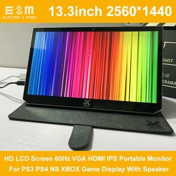13,3 pulgadas 2560*1440 HD LCD pantalla 60Hz VGA HDMI IPS Monitor portátil para PS3 PS4 NS XBOX juego pantalla con altavoz