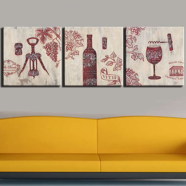 Modern 3pcs Wall Art Oil Painting Print On Canvas Red Wine Glass Cup ...