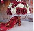 2017 Burdeos y Blanco Hecho A Mano Flores Artificiales Decorativas Flores Color de Rosa Detalles de Encaje de Perlas Nupcial de La Novia Ramos de Novia