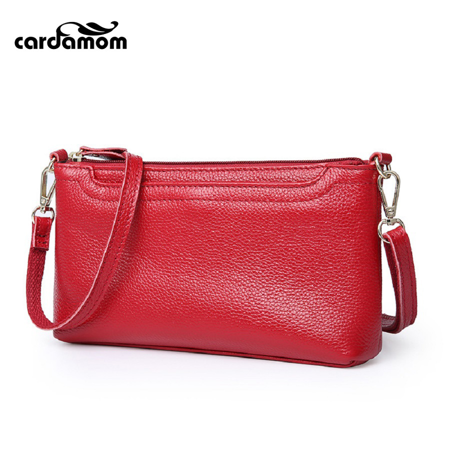 Cardamom 2017 Fashion Handbags Genuine Leather Day Clutches Women Messenger Bags Ladies Shoulder Bag Zipper Crossbody Bags cardamom clutches women fashion solid colors shape of hobos zipper soft cow leather casual small clutches cell phone pocket