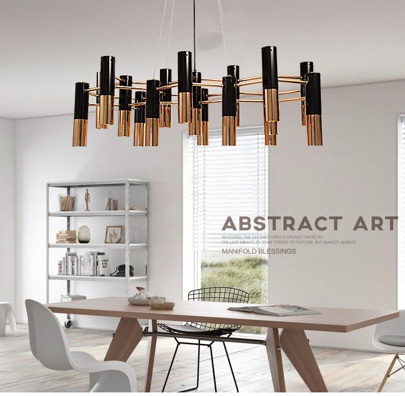 Delightfull black and gold metal aluminum tube chandelier lamp Italy ...