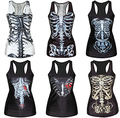 Skull Skeleton Bones Series 3D Printed Punk Tank Tops Harajuku Sleeveless Fitness Women Camisoles Vintage Sexy Slim Vest