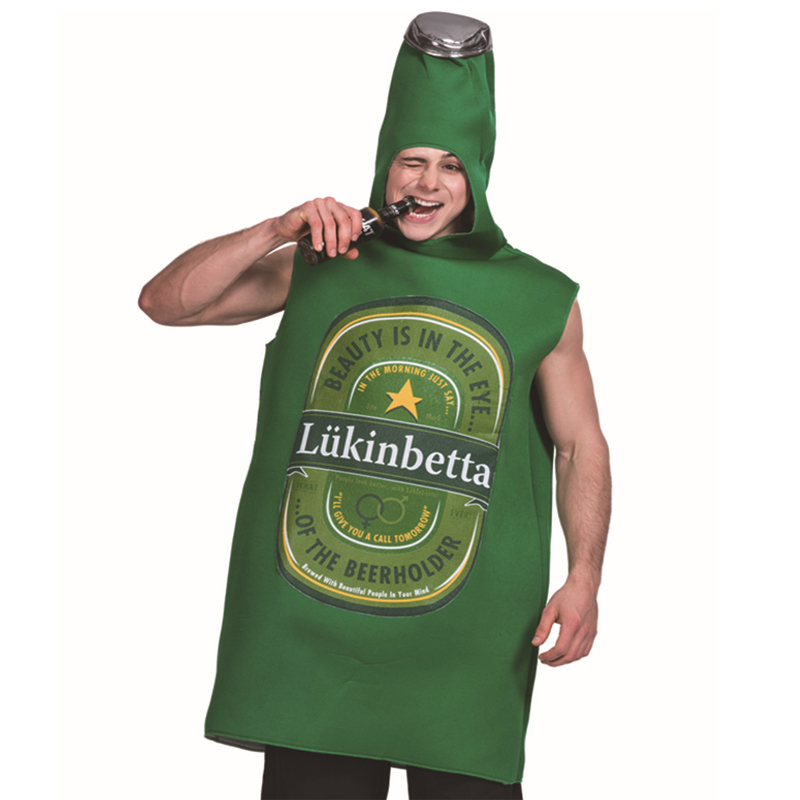 Free shipping 2018 adult Halloween beer bottle Cosplay costume can be customized JQ-1105