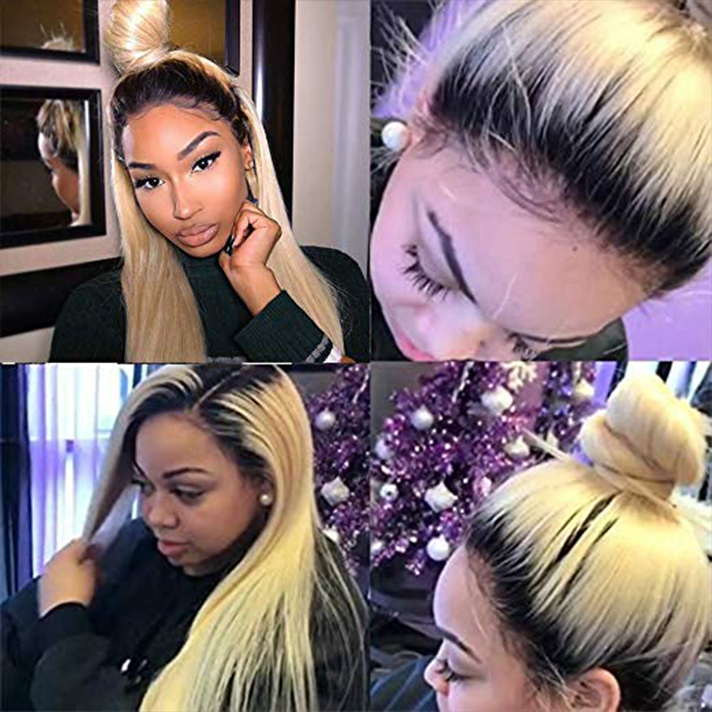 SimBeauty 1B 613 Wig Straight Ombre Blonde Lace Front Wigs PrePlucked Brazilian Virgin Human Hair Wigs Baby Hairline For Women image