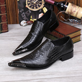 Luxury Fashion Men Black Dress Shoes Metal Charm Pointed Toe Python Snake Pattern Black Leather Shoes For Party Show Shoes  46