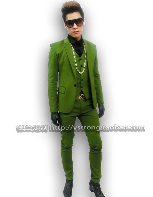 Jacket + pants + vest trajes de hombre bailarín cantante vestido performance show ropa del club nocturno chaqueta al aire libre delgado desgaste del bailarín mostrar