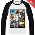 2016 moda 100% algodón de los hombres Ropa de manga larga Camiseta impresa de los hombres que basa la camisa GTA 5 juego Grand Theft Auto 5, más el Tamaño