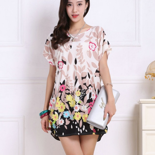 2018 spring summer women Dress Plus Size Women dresses short sleeve Loose Casual print tunic dresses big large 5xl