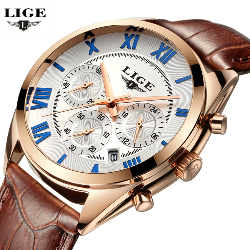 Mens Watches Top Brand Luxury LIGE Men's Quartz Watch Waterproof Sport Military Watches Men Leather Clock Man relogio masculino lige new men watch top brand luxury men s sport quartz watches man fashion multifunction date waterproof clock relogio masculino
