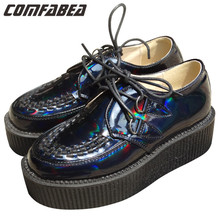 A.O.D Big size 35~43 WOMEN LADIES PLATFORM LACE UP WOMENS FLATS CREEPERS GOTH PUNK SHOES BLUE LASER HOLOGRAM FLAT SHOE HAVE