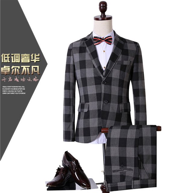 CCXO2017 весной новые случайные плед костюм-тройку костюмы карьера костюм tz09 куртка + брюки + жилет