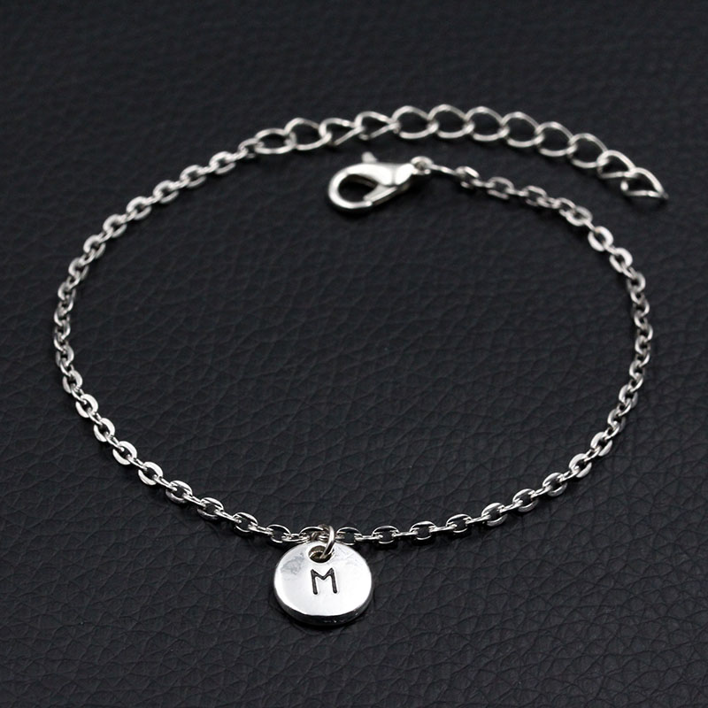 Charms Bracelet Link-Chain Handmade Silver Personalized Women 26-Letters DIY A-Z Antique