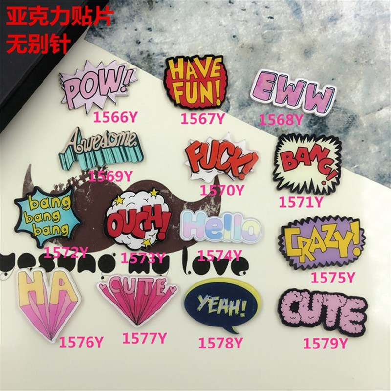 Cute CRAZY character Harajuku costumes Badge Acrylic Brooches Pins letter Cartoon Figure Brooch XZ03