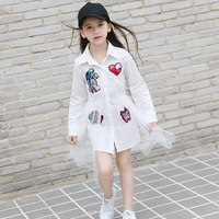 Spring Autumn baby Girls blouse Dress female vestidos Children fashion Clothes bird sequin heart embroidery mesh 6 to 16 yrs