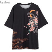 Lychee Summer Women Ukiyoe Koi Printed Japanese Sakura T Shirt Casual Short Sleeve T Shirt Tee