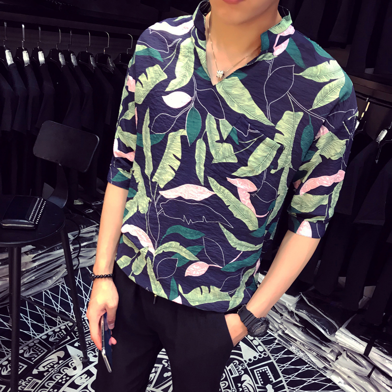 Summer Male 5 Part Short Sleeve Pullover The Chest Pocket Easy FLOWER Shirt Draw Back popular trend personality fashion causal