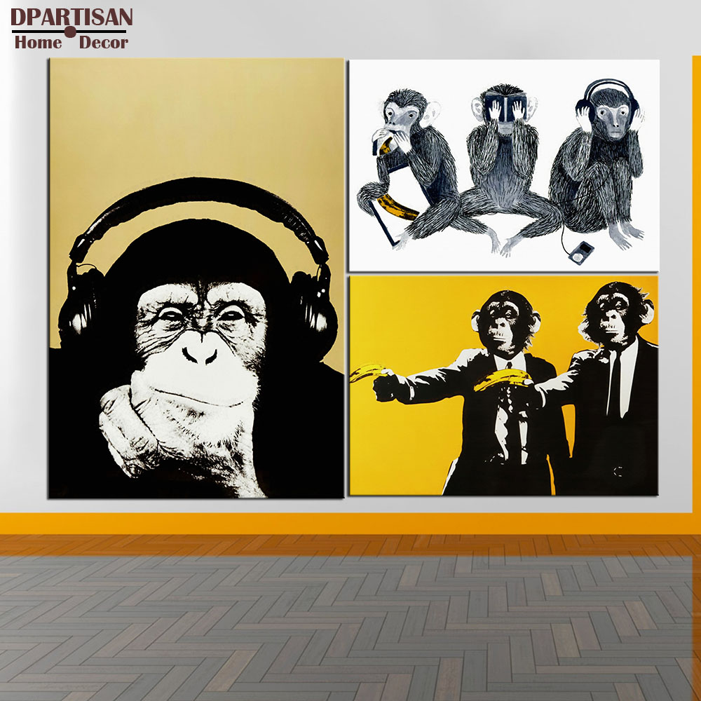 DPARTISAN study music monkey wall pictures oil painting print canvas ...