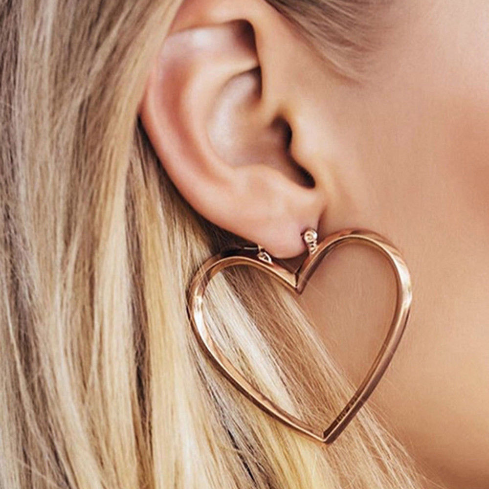 Fashion Women Charms Jewelry Simple Love Heart Ear Stud Earrings Rose Gold/Gold/Silver