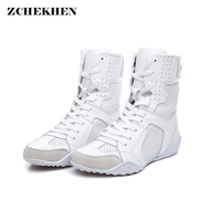 Luxury Brand Design sneakers Women Genuine Leather Boots Martins Boots White Casual Shoes Round Head Lace up Flat Women's Shoes