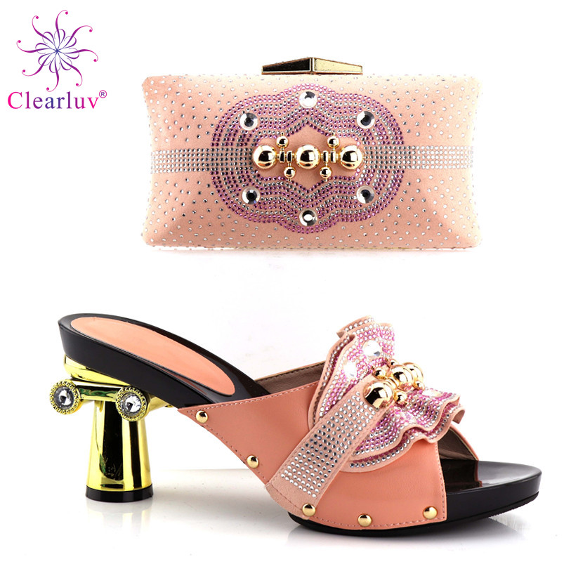 Peach Color Thin Heels 12.5cm Shoes And Bag To Match Italian African Wedding Shoes And Bag Set Matching Italian Shoe And Bag Set