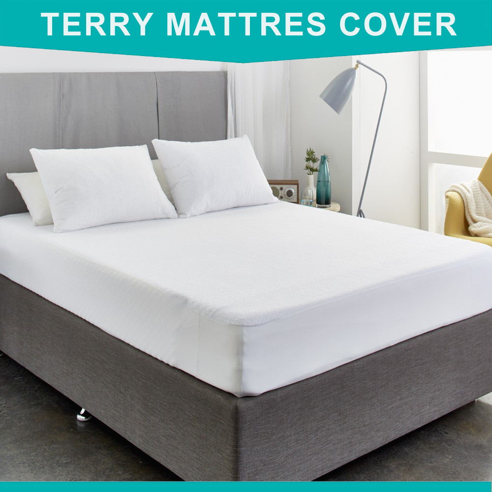 buy 160x200cm cotton terry mattress protector hypoallergenic mattress cover. Black Bedroom Furniture Sets. Home Design Ideas