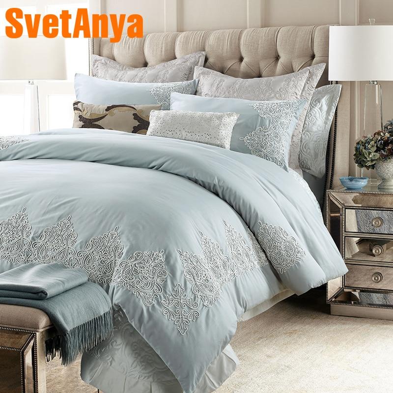 Svetanya Embroidery Bedding Kit Sanded Cotton Bedlinen Queen King Size Luxury bedsheet Pillowcases Duvet Cover Sets
