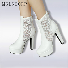 Plus Size 34-46 Women Boots Ankle Boots Lace Summer hollow out breathable mesh Boots Zapatos Femme Square High Heel Women Shoes