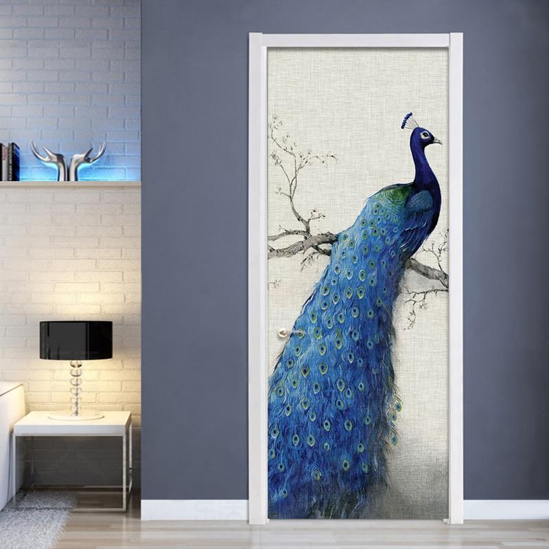 Door Sticker Modern Blue Peacock Creative DIY Home Decoration Door Poster Living Room Bedroom Study Vinyl Waterproof Wallpapers|Door Stickers| |  - title=