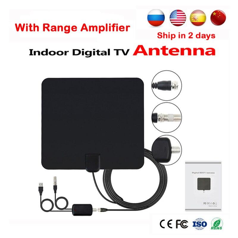 Intérieur Antenne TV HDTV Numérique TV Réception Du Signal 50 Miles Gamme Amplificateur Intérieur Plat TV Antenne Pour DVB-T DVB-T2 LNB récepteur