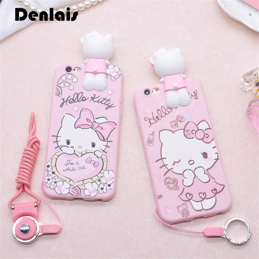 607f059035ebf0 Phone Case For iPhone 6 6S 6 plus 3D Cute Hello Kitty Soft Silicon Fundas  Case For iPhone X 8 7 7 plus Cover Kitty Cartoon Coque