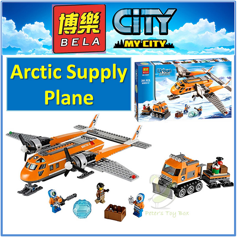 LEHO 10441 Compatible City Brick Arctic Supply Plane 60064 Building Blocks Policeman Educational Toys For Children Boy gudi block city large passenger plane airplane block assembly compatible all brand building blocks educational toys for children