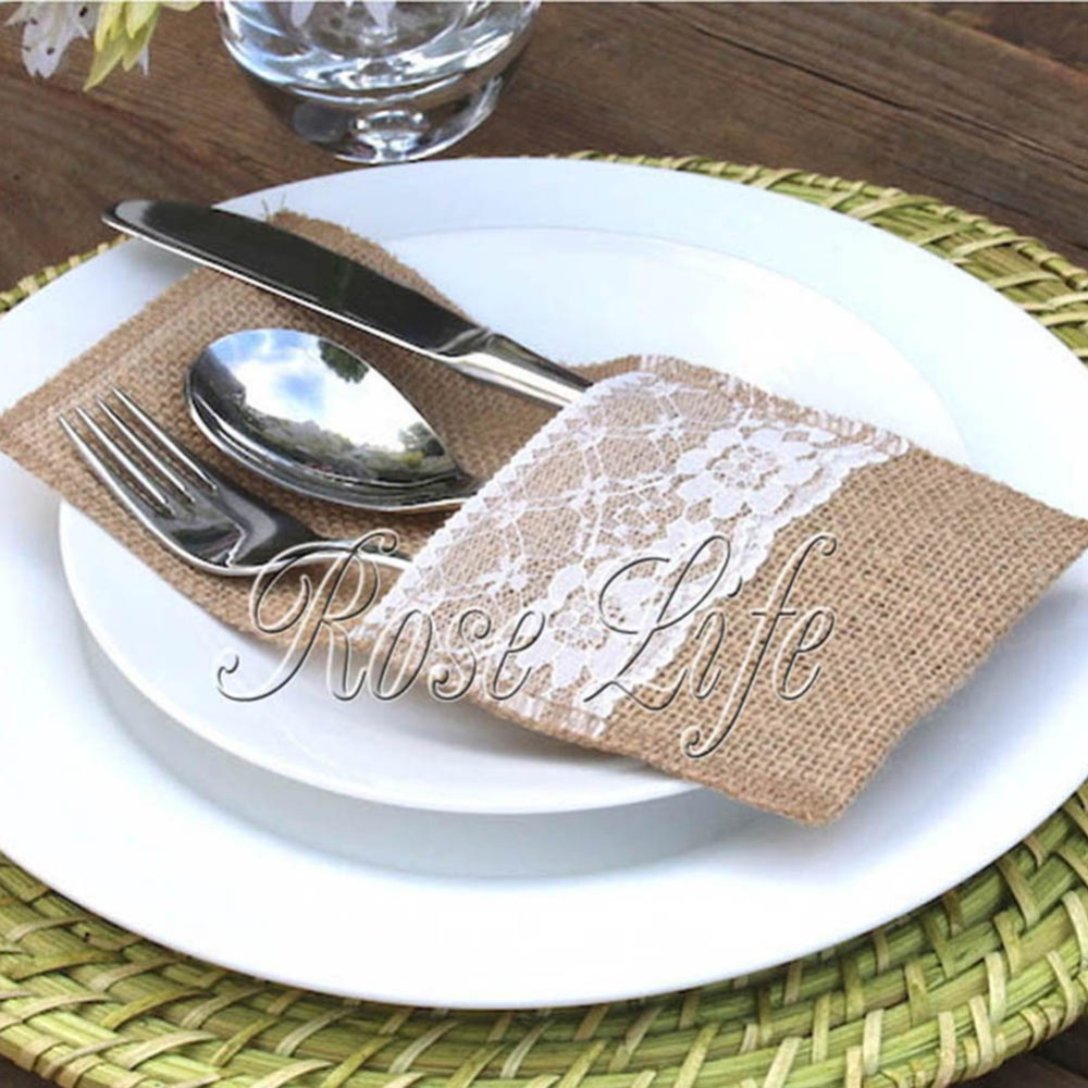 20PCS Vintage Chic Jute Burlap Tableware Pouch with Lace Trim ...