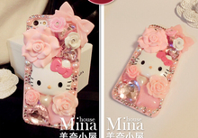 3D жемчуг цветок Hello Kitty Bling Crystal розовый чехол для Galaxy S 6S 8 S7 края для телефона 6S 7 плюс