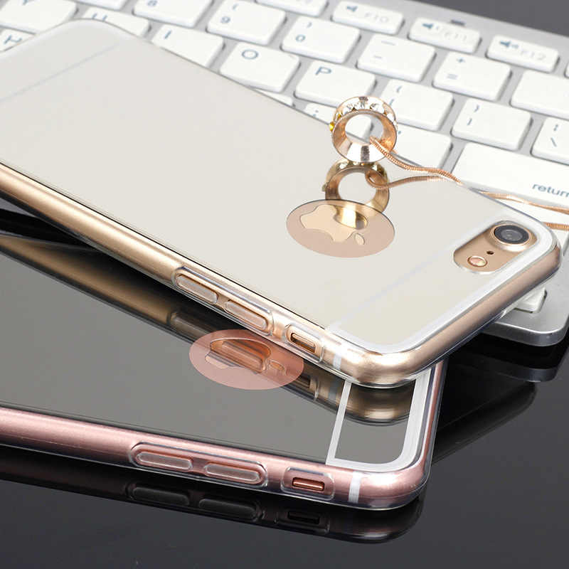 THREE-DIAO роскошный мягкий, зеркальный, из ТПУ Силиконовые чехлы для телефонов Apple IPhone X 5 5S SE 6 6 S 7 8 Plus чехол задняя крышка Coque
