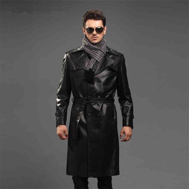 2015 Autumn New High-grade Real sheep skin Men Long section Windbreaker Coat JSH424