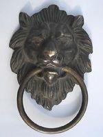 Marked Chinese Bronze Fierce Lion Head Door Knocker 4 4 Height Garden Decoration 100 Real Brass