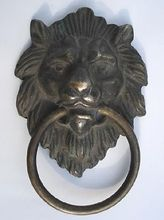 marked Chinese Bronze Fierce Lion Head Door Knocker 4.4 Height Garden Decoration 100% real Brass
