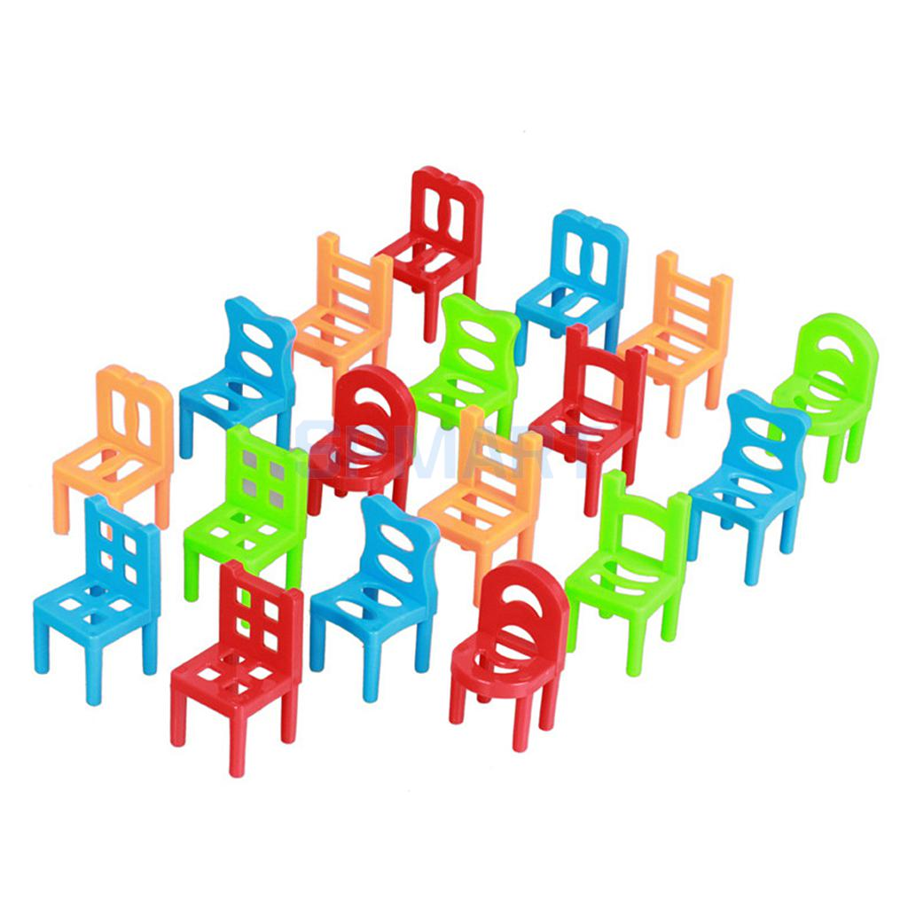 18Pcs Plastic Balance Learning Stacking Chairs Kid Education Play Game Toy