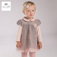 DB4080 dave bella autumn baby girls  pink lace dress girls peter pan collar dress cute sweet birthday dress costumes