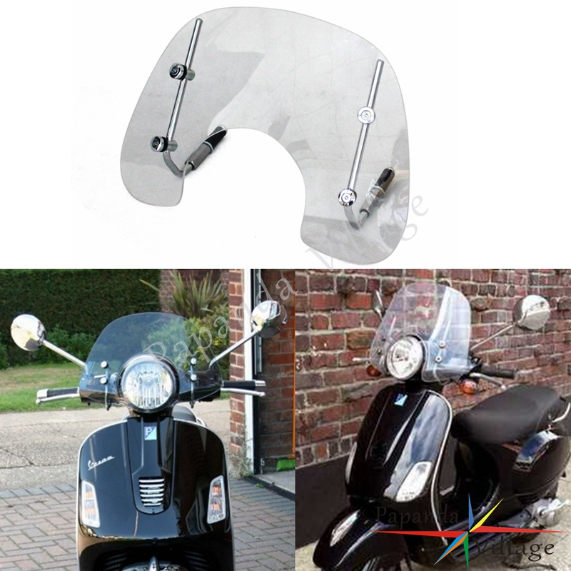 Papanda Motorbike Transparent Clear Windshield Windscreen Deflector with Fitting Kit for 2005-2014 VESPA LX50 LX150
