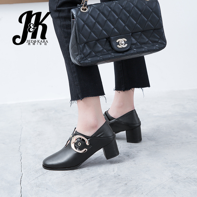 JK Mary Janes Thick Med Heels Pumps Women Round Toe Buckle Footwear Casual Shoes Metal Decoration Woman 2019 Spring Big Size 48