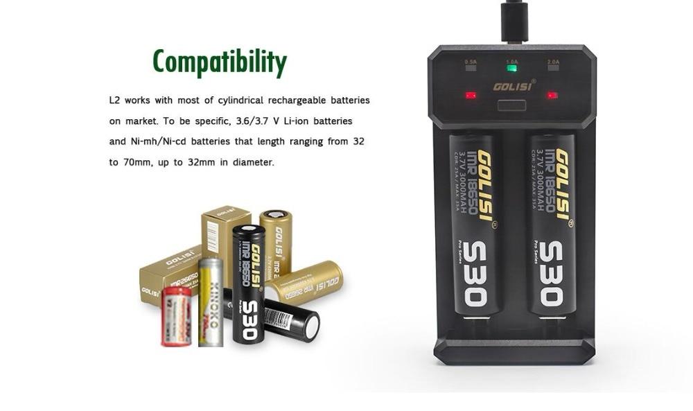 Golisi L2 USB Charger Smart 2 Slots For 18650 20700 21700 26650 Batteries