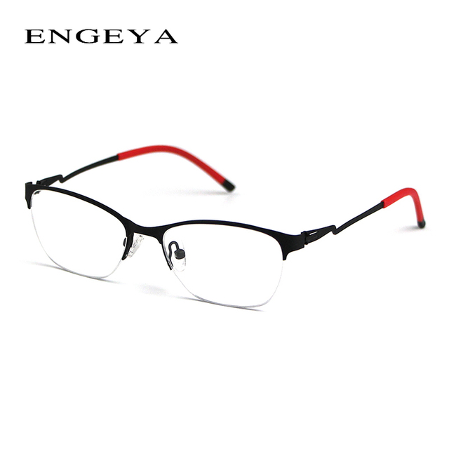 Retro Clear Lens Glasses Frame Brand Half Myopia Eyewear Optical Glasses Legs Unique Design Of Eye Glasses Frames For Women 8055