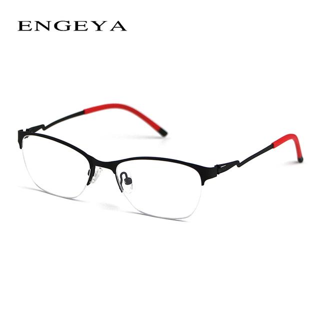 Retro Lente Clara Óculos De Armação Marca Metade Óculos de Miopia Óptico Pernas óculos de Design Exclusivo De Armações de Óculos de Olho Para As Mulheres 8055