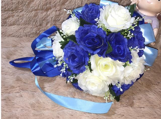 2017 Люкс Для Невесты Свадебный Букет Дешевые Новый Синий и Белый Ручной Работы Искусственный Пион Цветок Свадебные Букеты, Свадебные Букеты