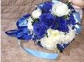 2017 dama de Honor Nupcial de La Boda Bouquet Barato Nueva Azul y Blanca Hecha A Mano Artificial Flor del Peony Ramos De La Boda Ramos de Novia
