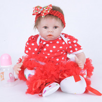 22 Inch 55cm Reborn Baby Dolls Handmade Alive Full Silicone Reborn Doll Lifelike Sleeping Girl Babies Toy Christmas Gift