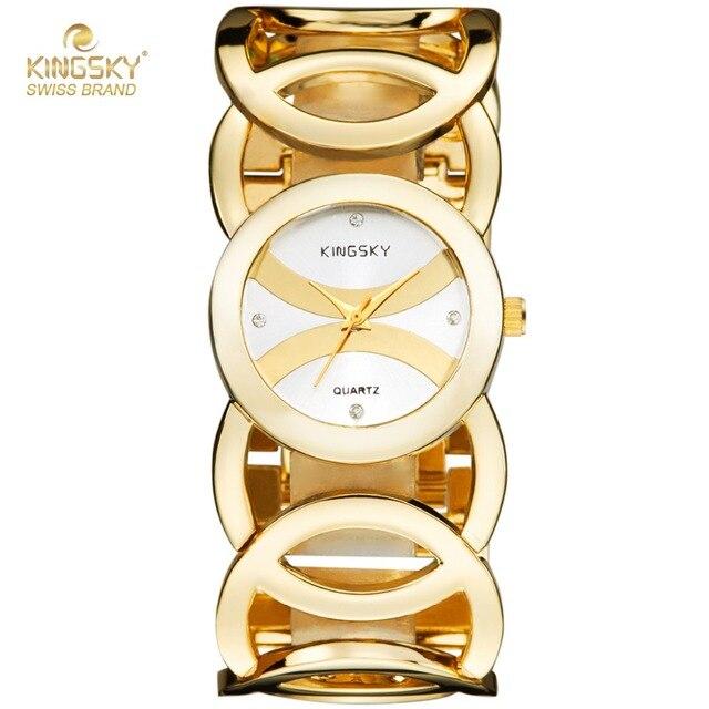 b2d6c696659 New Top Brand 3809  Luxury Women Watch Famous Brands Gold Full Steel  Fashion Design Bracelet