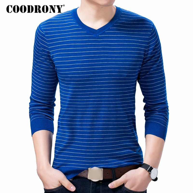 COODRONY Pullover Men Sweater V-Neck Knitted Homme Wool Autumn Striped Winter Casual