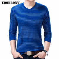 COODRONY Sweater Pullover Men Clothes 2018 Autumn Winter New Arrival Knitted Wool Sweaters Casual Striped V-Neck Pull Homme 8211